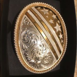 Montana Silver Smiths American flag belt buckle